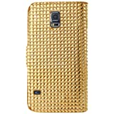 Reiko Diamond Flip Case Samsung Galaxy S5 - Retail Packaging - Gold