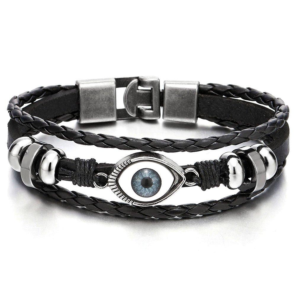 Mens Womens Three-Row Leather Black Evil Eye Beads Charms Bracelet Wristband Wrap Bracelet COOLSTEELANDBEYOND MB-1353-CA