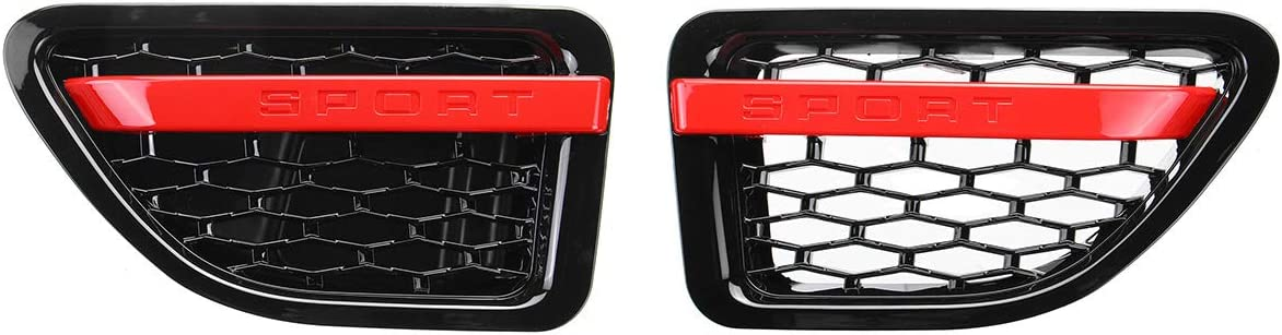 Monland 1Pair Car Side Vent Grille Grill Tuning Air Side Vent Grille Grid for Range Rover Sport 2005-2009 Black/&Red