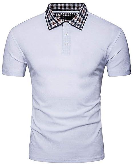 FuweiEncore Camisas Polo para Hombre Cuello de Manga Corta ...