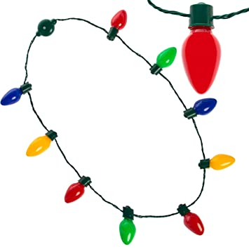 Light Up Christmas Necklace.Simply Genius Led Light Up Christmas Necklace With Light Bulbs For Kids And Adults Party Favors String Lights Christmas Decorations With Bulk