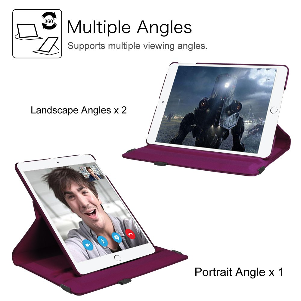 Fintie iPad 9.7 inch 2018 2017 / iPad Air Case - 360 Degree Rotating Stand Protective Cover with Auto Sleep Wake for Apple iPad 9.7 inch (6th Gen, 5th Gen) / iPad Air 2013 Model, Purple by Fintie (Image #5)