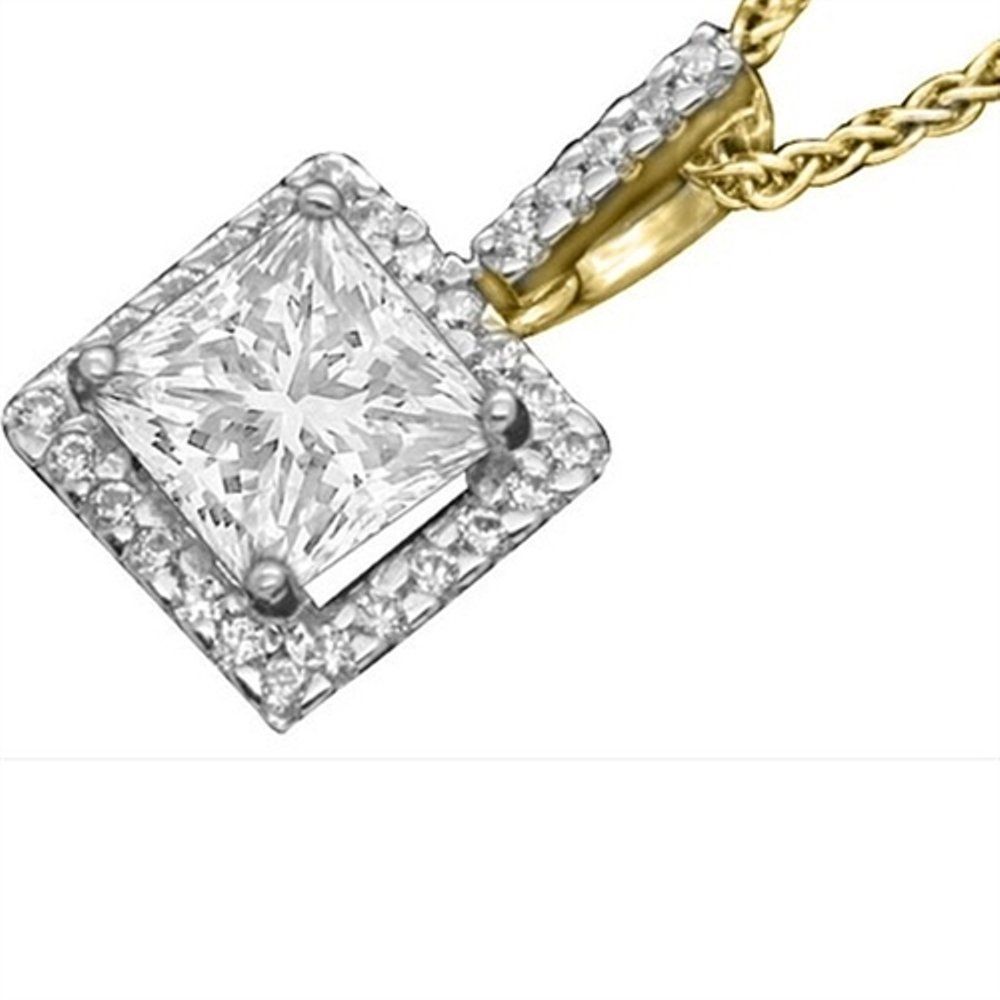 Triostar 925 Sterling Silver Simulated Diamond Studded Classic Pendant Necklace Jewelry