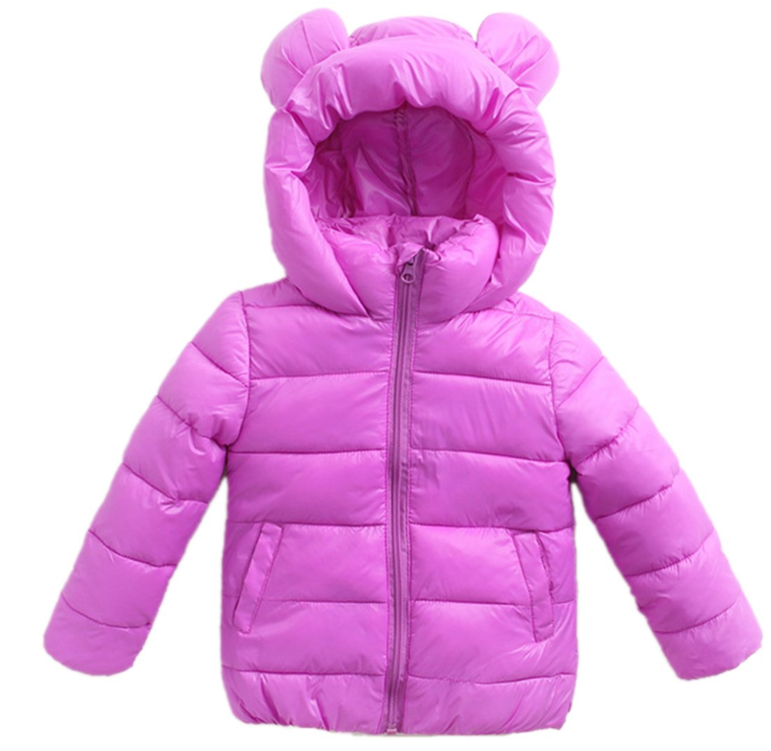 Roffatide Children's Cute Ears Stand Collar Lightweight Short Down Jacket Puffer Coat Hoodie Girls Boys Violet Size 120