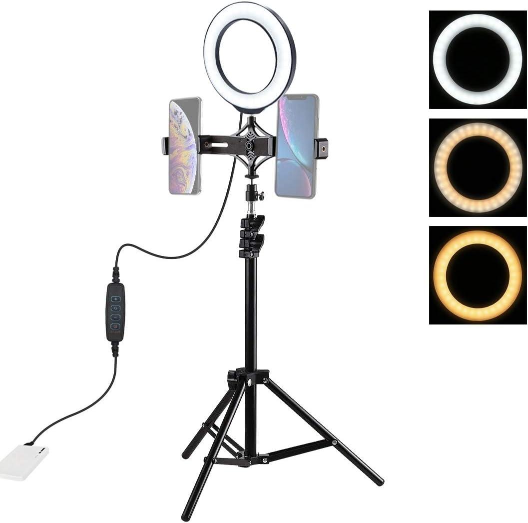 MDYHMC AYSMG 1.1m Tripod Mount Live Broadcast Dual Phone Bracket 6.2 inch LED Ring Vlogging Video Light Kits