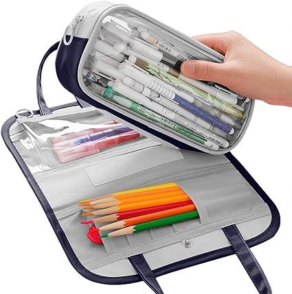 Estuche para lápices de gran capacidad, 72 ranuras con compartimentos Oxford, práctico organizador para bolígrafos, bolsa de almacenamiento con cremallera para niños: Amazon.es: Oficina y papelería