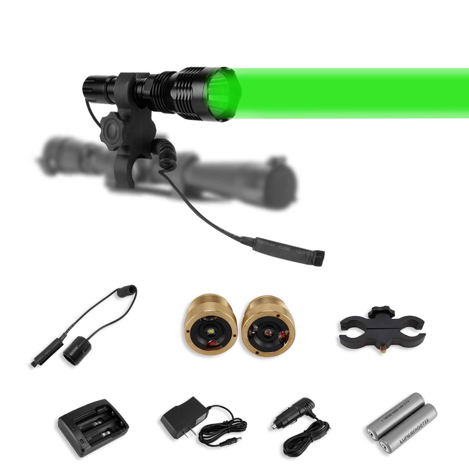 LUMENSHOOTER Long Range Cree Green Red White Hunting Kit High Power Rechargeable Scope Rifle Gun Mounted Kill Light Predator Night Torch Tactical Flashlight for Coon Coyote Hog Fox and Varmint by LUMENSHOOTER