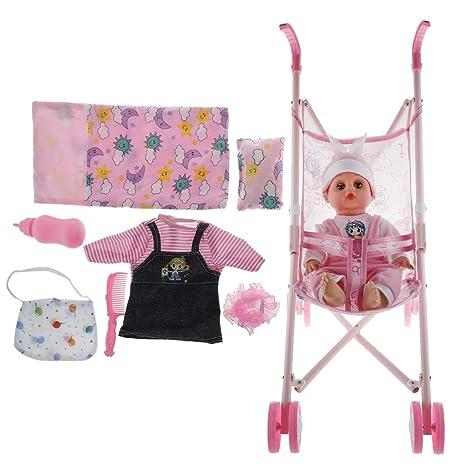 P Prettyia Fashion Carrito Mini + Muñecas Bebés Renacidas + Juegos de Ropa de Vestir de