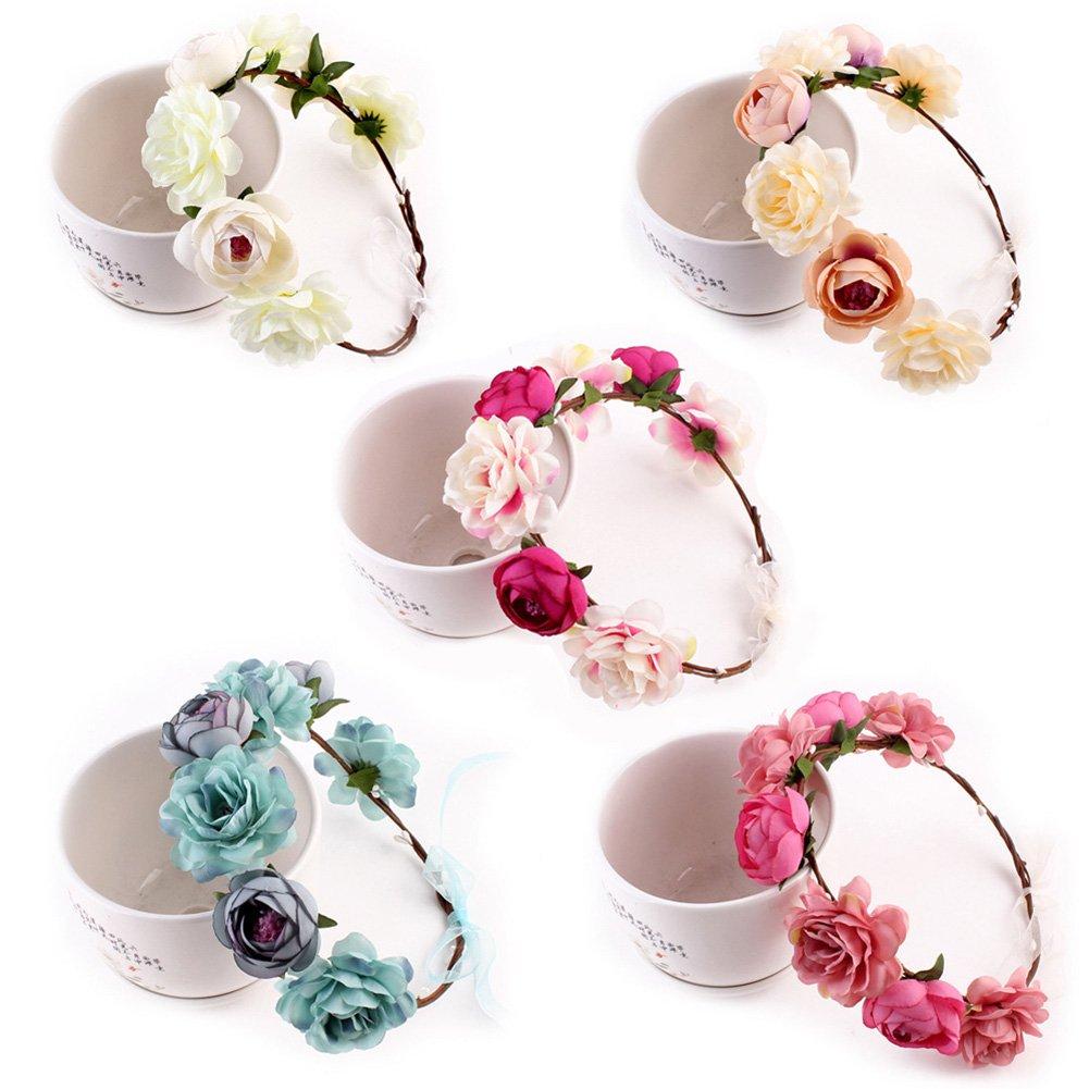 Yuccer Blumen Stirnband M/ädchen B/öhmen Blumen Haarband f/ür Damen Haarkranz Blumen f/ür Hochzeit Festival Strand