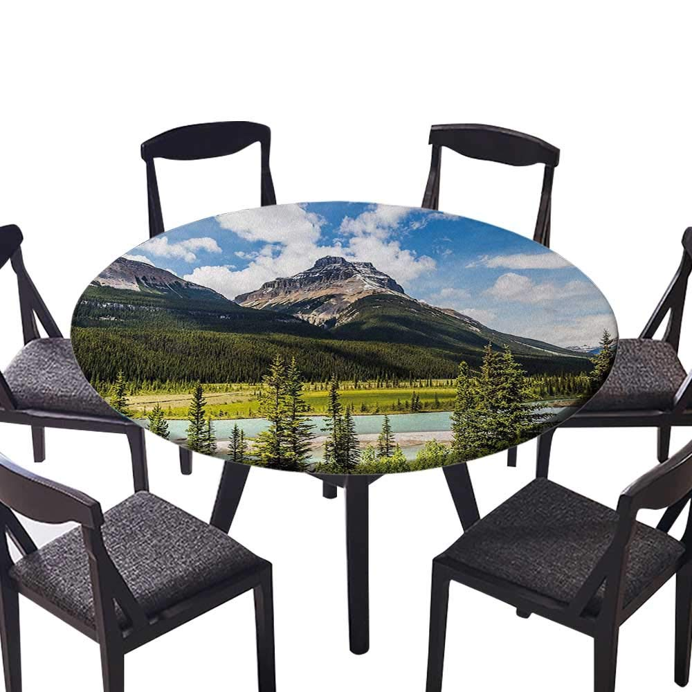 """Round Premium Tablecloth Canadian Cliffs High Tops and Ranges in Spring Day Panorama Image ES Stain Resistant 55""""-59"""" Round (Elastic Edge)"""