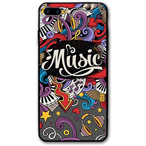 5.5 Inch Iphone 8 Plus Case Detail Music Doodle Cover Anti-Scratch Shock Proof Hard PC Protective Case Cover
