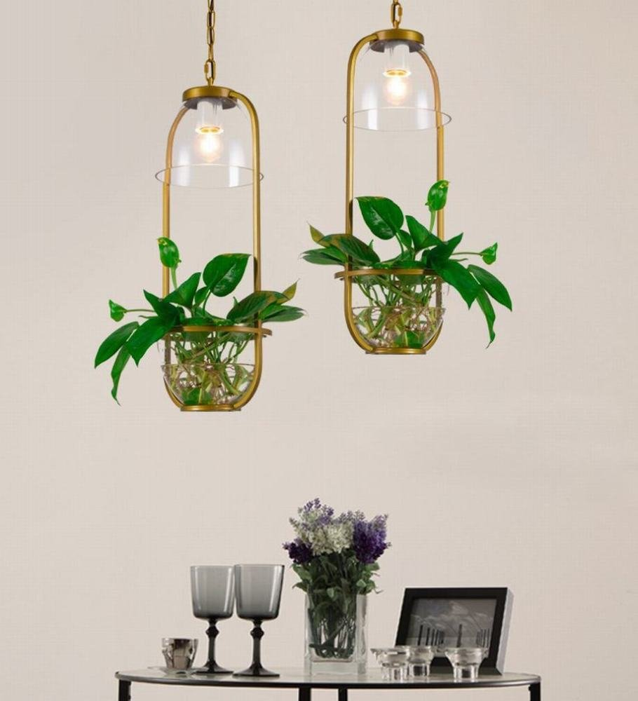 DEN Creative bedroom aisle green plant chandelier LED restaurant bar personality modern minimalist chandelier,A,One size by DEN (Image #2)