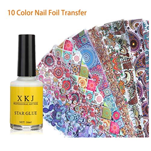 AIFAIFA Nail Foil Stickers, Holographic, Metallic, Color Glass, Mix Leopard Nail Foil Transfer Stickers with Nail Glue, 10 Mix Color Nail Foil (Vintage)