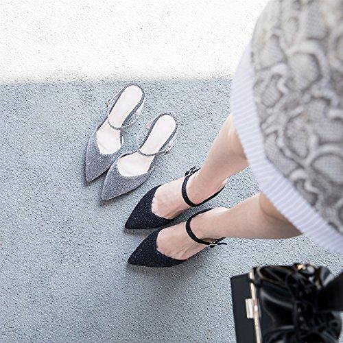 comfort In pelle estivi Tacco pantofole donna spillo per Scarpe a esterno da SHINIK Silver Black da B Sandali xBnwqtSYg