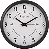 Amazon Brand - Solimo 11-inch Wall Clock (Step Movement, Black Frame)