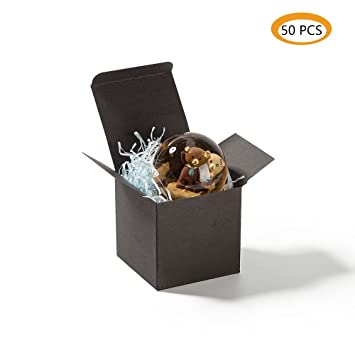 Zooyoo Black Boxes 3 1 X 3 1 X 3 1 Inches Black Cardboard Gift Boxes With Lids For Gifts Crafting Cupcake Boxes 50pcs