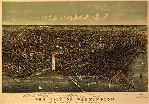 (District of Columbia, Washington - (1892) - Panoramic Map (12x18 Fine Art Print, Home Wall Decor Artwork Poster))