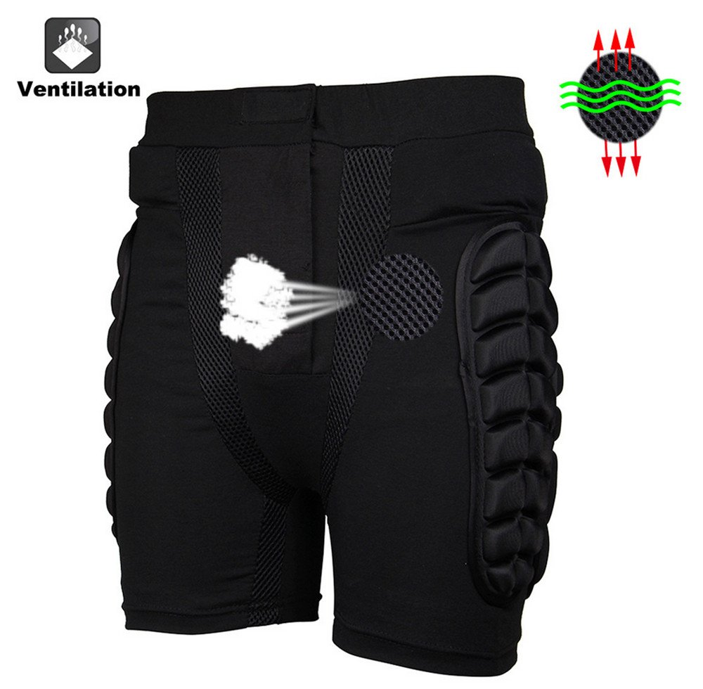 Super 3D Padded Shorts | Unisex Breathable Lightweight Hip Butt EVA Protective Pants for Ski Skate Snowboard Skating Skiing (Small)