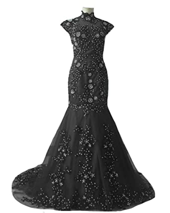 45b933518e5 Kivary Vintage High Neck Sheer Mermaid Black Lace Beaded Formal Gothic Prom  Evening Dresses US2