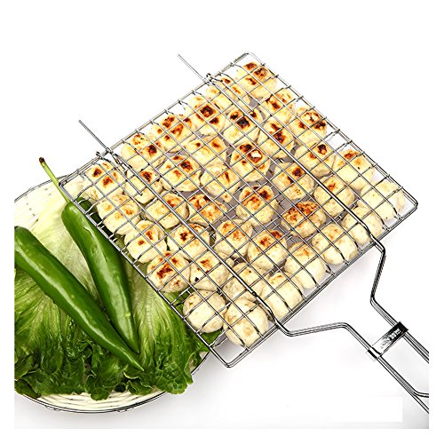 Non-stick Fish Flexible Grilling Basket Folding for Roast BBQ Barbecue with Wood Handle for Outdoor Picnic