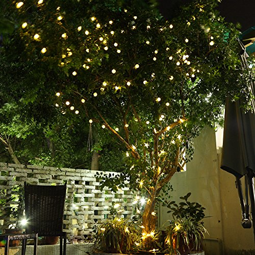 String Lights In Trees: GDEALER Solar Outdoor String Lights 31ft 50 LED Waterproof