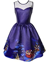 Kimitsu-Science Christmas DressNew Winter Purple Print a Line Lace Sleeveless Vintage Santa Vestidos Dress