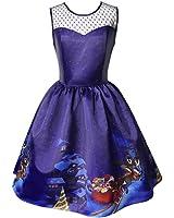 Kimitsu-Science Christmas DressNew Winter Purple Print a Line Lace Sleeveless Vintage Santa Vestidos Dress