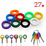 InterUS Key Caps Tags, 27 Pcs, Silicone Key cap Sleeve Rings Key Identifier Rings Label ID Perfect Coding System To Identify Your Key in 9 Different Colors