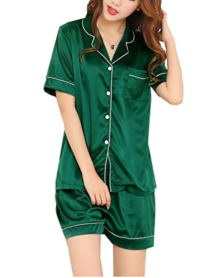 Image Unavailable. Image not available for. Color  BAIYIXIN Womens Short  Sleeve Pajamas Set Silk ... 00f3b4b64