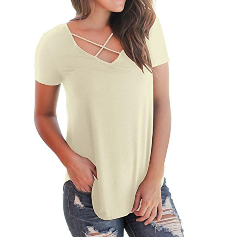 Kanpola Women's Casual Short Sleeve Solid Color Bandage Criss Cross Front V-Neck Irregular Hem T-Shirt Tops