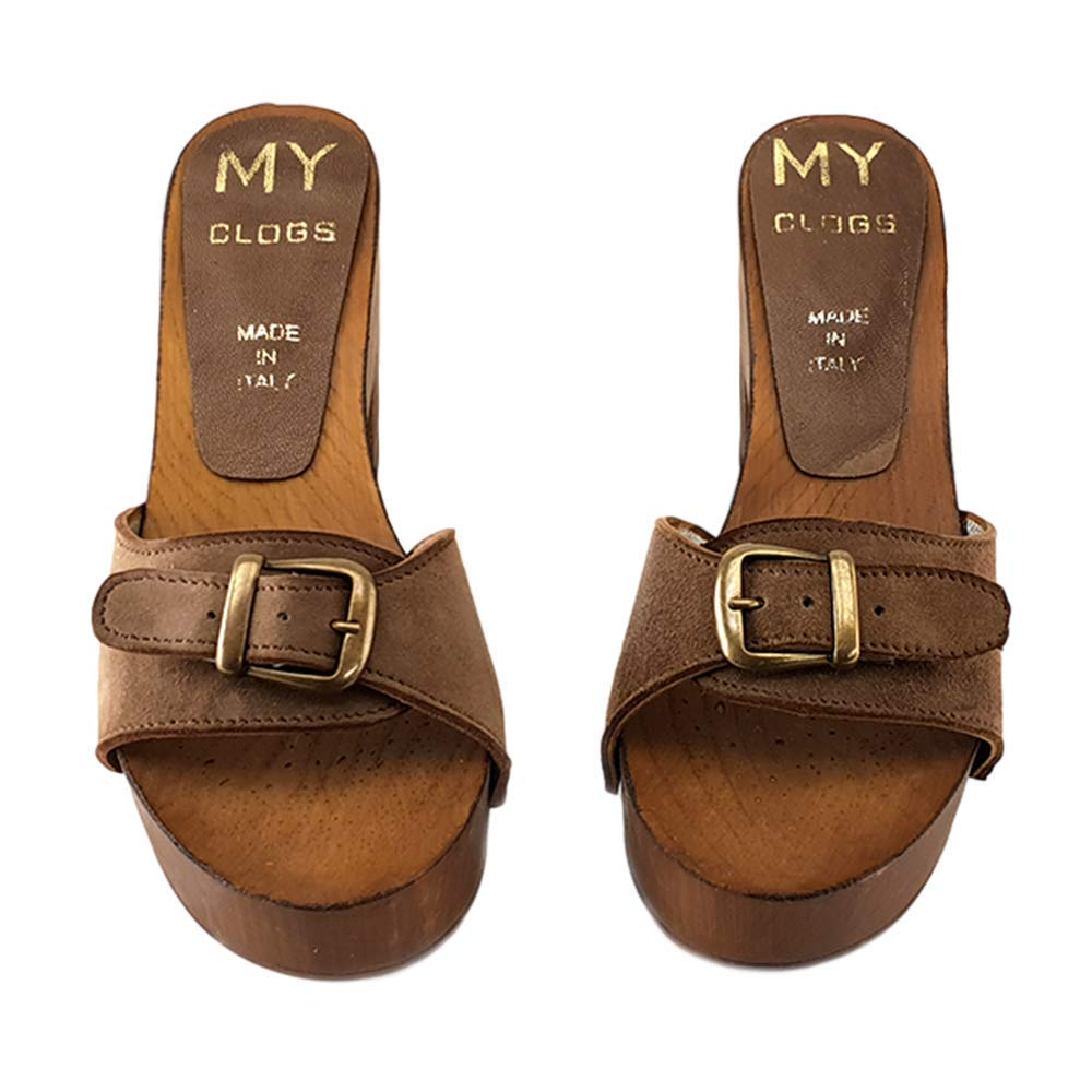 kiara shoes Taupe Leather clogs-MY1220 Taupe
