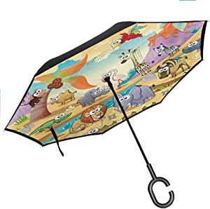 "Cartoon Inverted Umbrella Travel Compact Mother Duck and Babies Walking and Singing on The Meadow with Flowers for Car and Outdoor Use by, 42.5""x31.5""Inch Mustard and Pale Blue"
