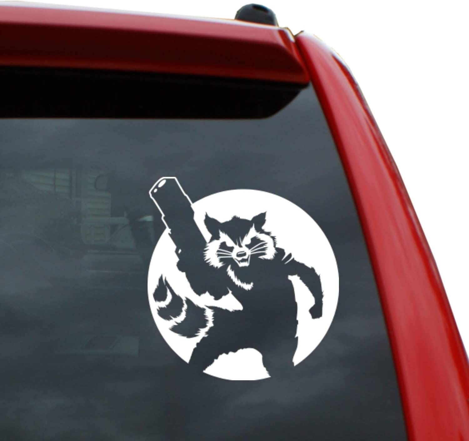 Black Heart Decals & More Guardians of The Galaxy - Rocket Circle Vinyl Decal Sticker | Color: White | 5