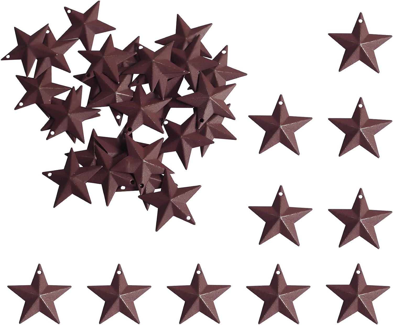 Barn Star - Metal Star. Texas Star. Retro Western Country Family Farmhouse Wall Decor. Red 1-1 / 4inch (27 PCS)