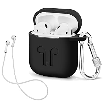 the best attitude 0b9d0 603c1 AirPods Case with Strap Protective Silicone Cover with Carabiner for  Airpods Accessories (Black)