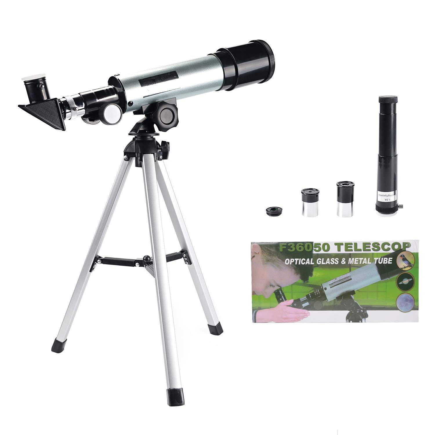 RONHAN Astronomical Telescope for Kids/Beginners, Toy Telescope with 3 Eyepieces Finderscope for Astronomy, Educational Outdoor Toy for Parents-Children