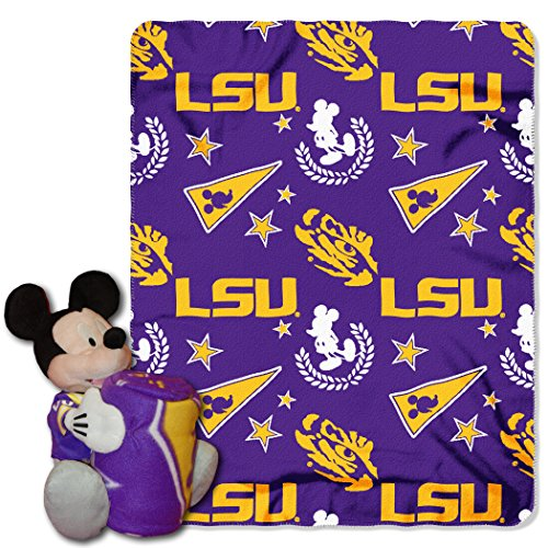 LSU OFFICIAL Collegiate & Disney Cobranded, Mickey Mouse Hugger Character Shaped Pillow and 40x 50 Fleece Throw Set