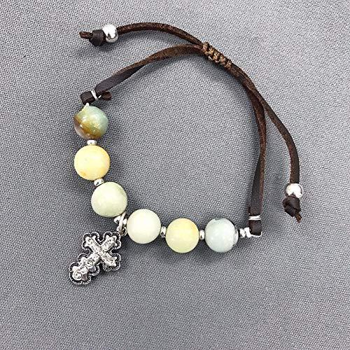 Brown Leather Jasper Beaded Silver Rhinestone Cross Charm Adjustable Fashion Jewelry Bracelet For Women ()