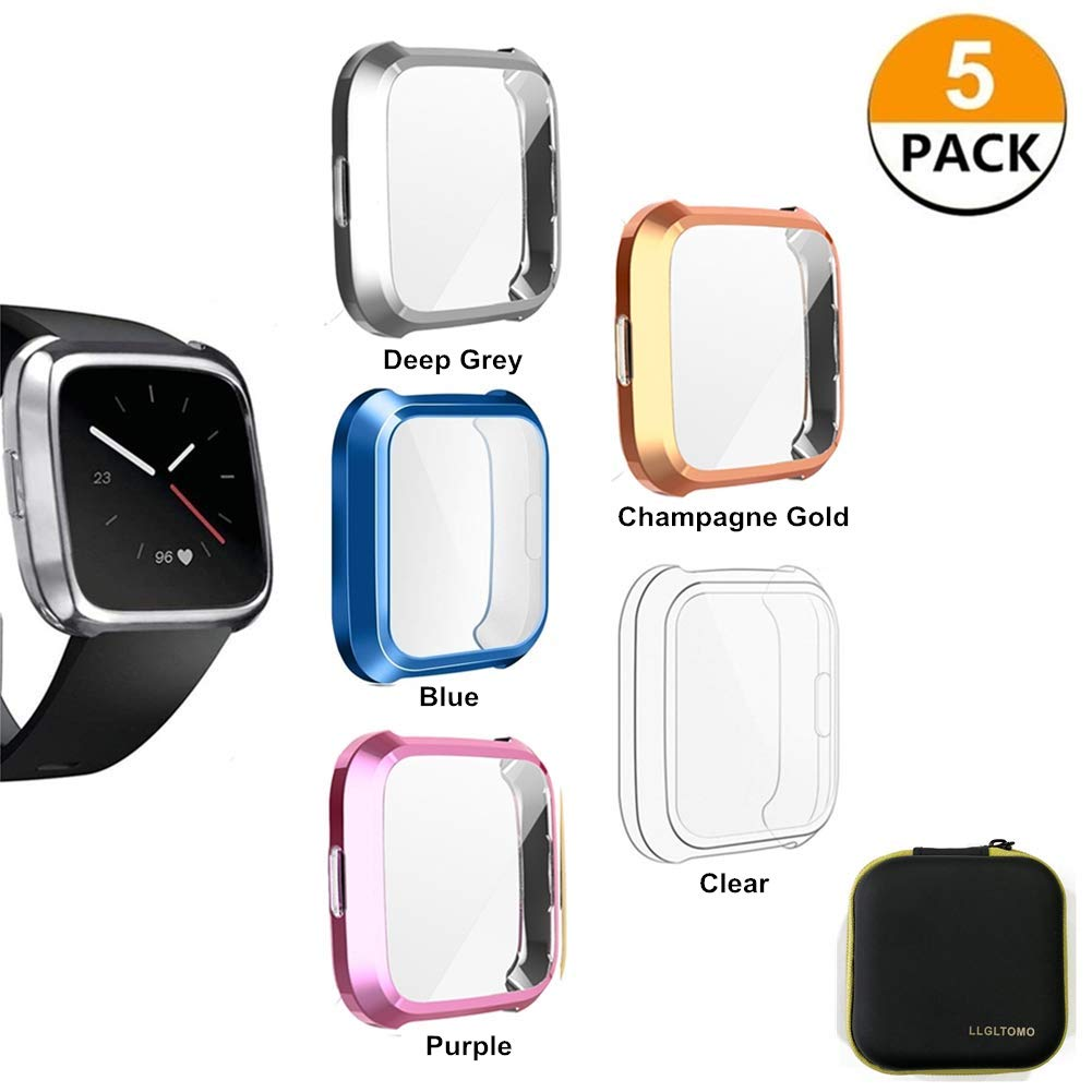 LLGLTOMO Fitbit Versa Lite Screen Protector Case, 5 Pack TPU Soft All-Around Activity Smart Watch Screen Protector Case Cover Fit for Fitbit Versa Lite Edition (5-Pack-3) by LLGLTEC