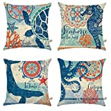 outdoor accent pillows - ONWAY Ocean Park Cotton Linen Theme Decorative Pillow Cover Case D 18