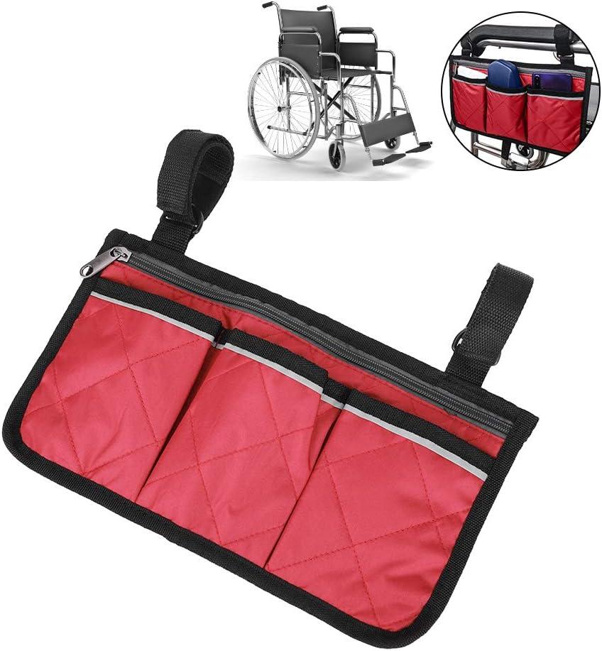 Yissone Borsa Laterale per Sedia a Rotelle Walker Custodia per Appendere Multifunzione Bracciolo Scooter Custodia Organizzatore Tote Custodia per Disabili Handicap Nero