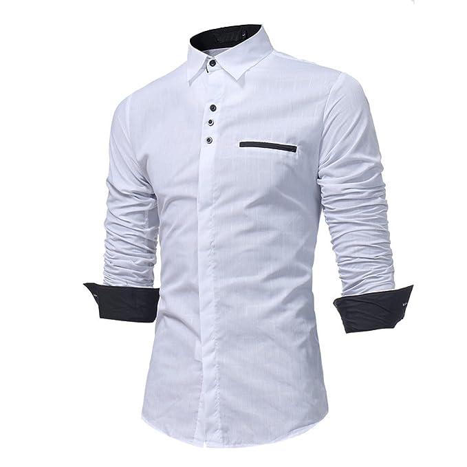 Camicia Uomo LandFox Slim Fit Morbida Tinta Unita Camicetta Top Camicia da  Uomo Manica Lunga Slim 5bad95a8573