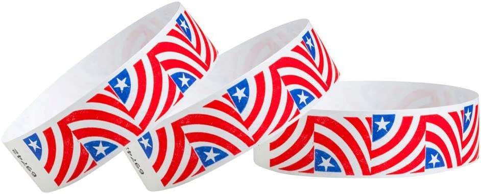 """WristCo Stars & Stripes Red, White, and Blue American USA 3/4"""" Tyvek Wristbands - 500 Pack Paper Wristbands for Events"""