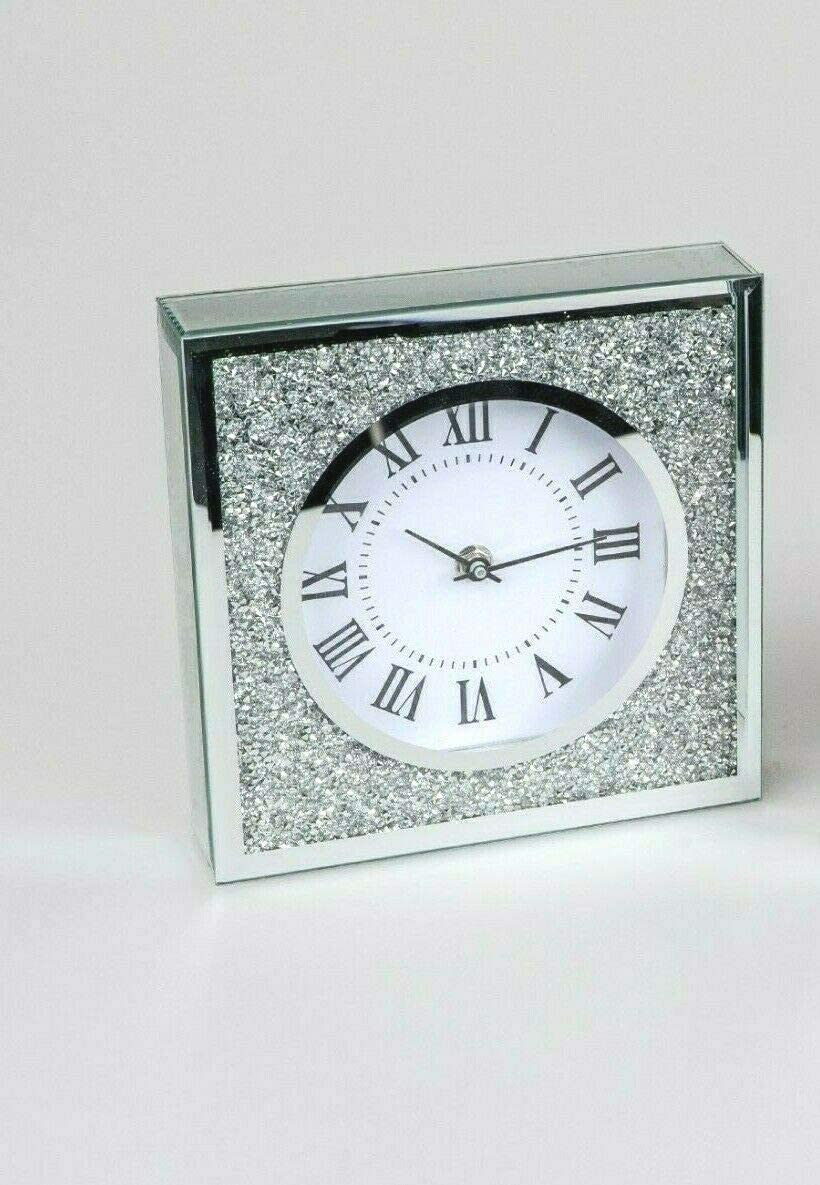 Formano Tischuhr Standuhr Uhr mit Strass Stein brillant sort 14x14x4,5cm
