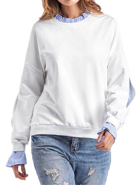 Tayaho Sudaderas Mujer T Shirt De Manga Larga Cuello Redondo Elegantes Tops Color SÓLido Patchwork Blusas