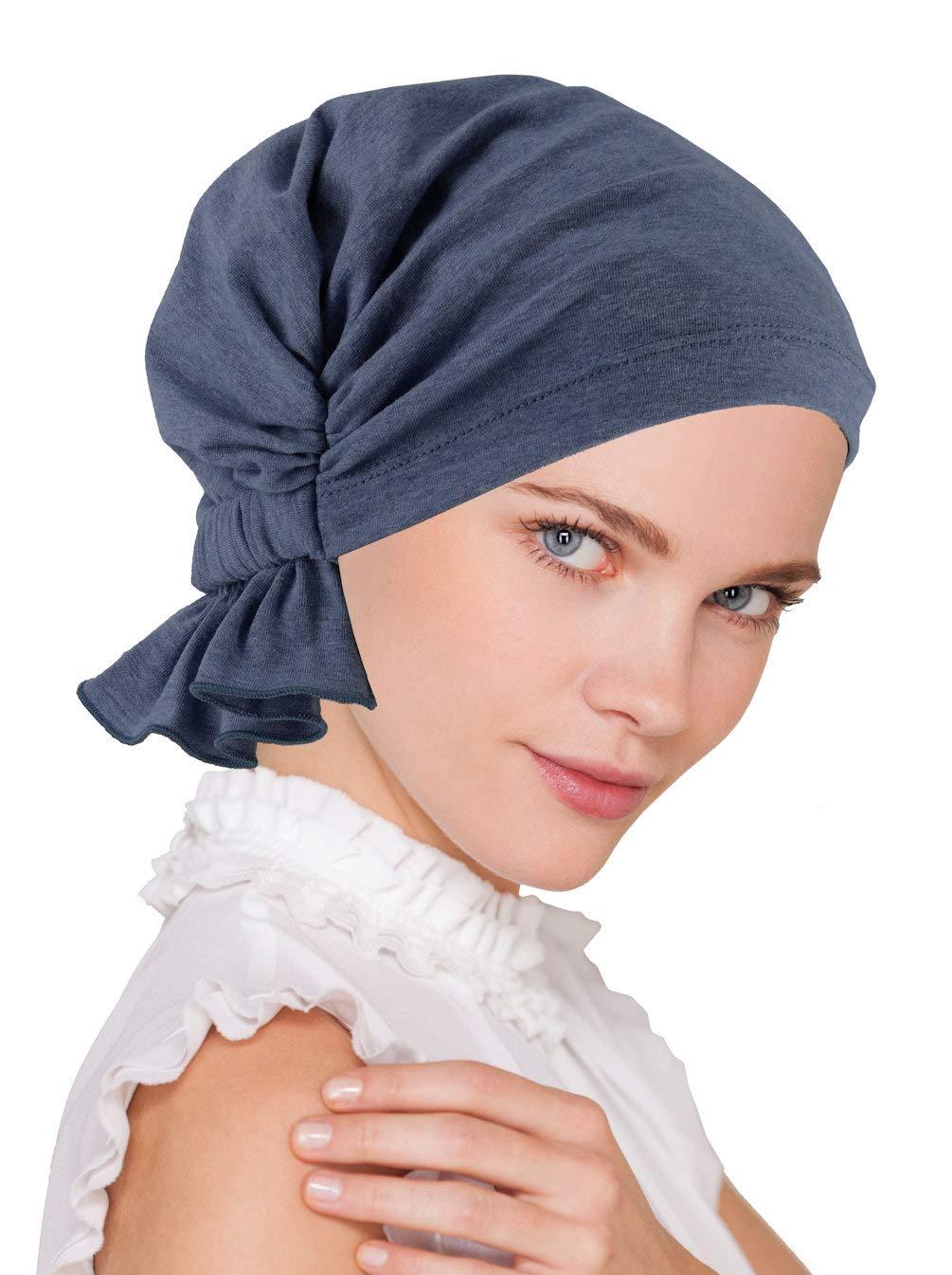 Abbey Cap Womens Chemo Hat Beanie Scarf Turban Headwear for Cancer Cotton Medium Denim