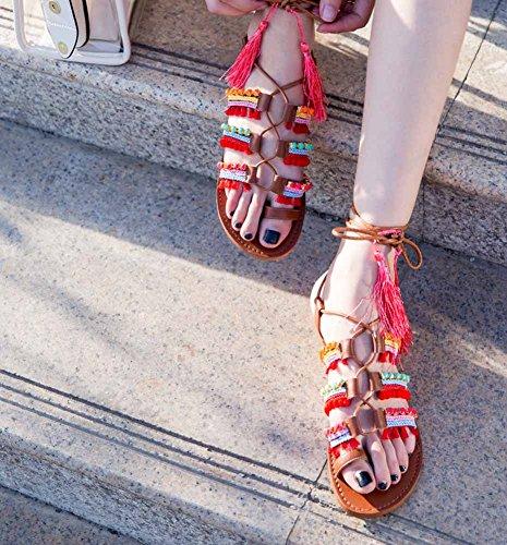 Moda SHINIK Europa Donne Clip Cinghia Romano Pelle Sandali Toe Nappa Sandali Color America flat r0rwqT
