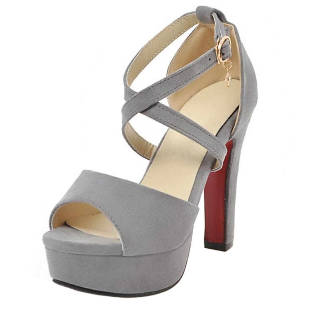 TAOFFEN Femmes Talons Ete Sangle Sangle Croisee Sandales Talons Croisee Gray cdbe517 - latesttechnology.space