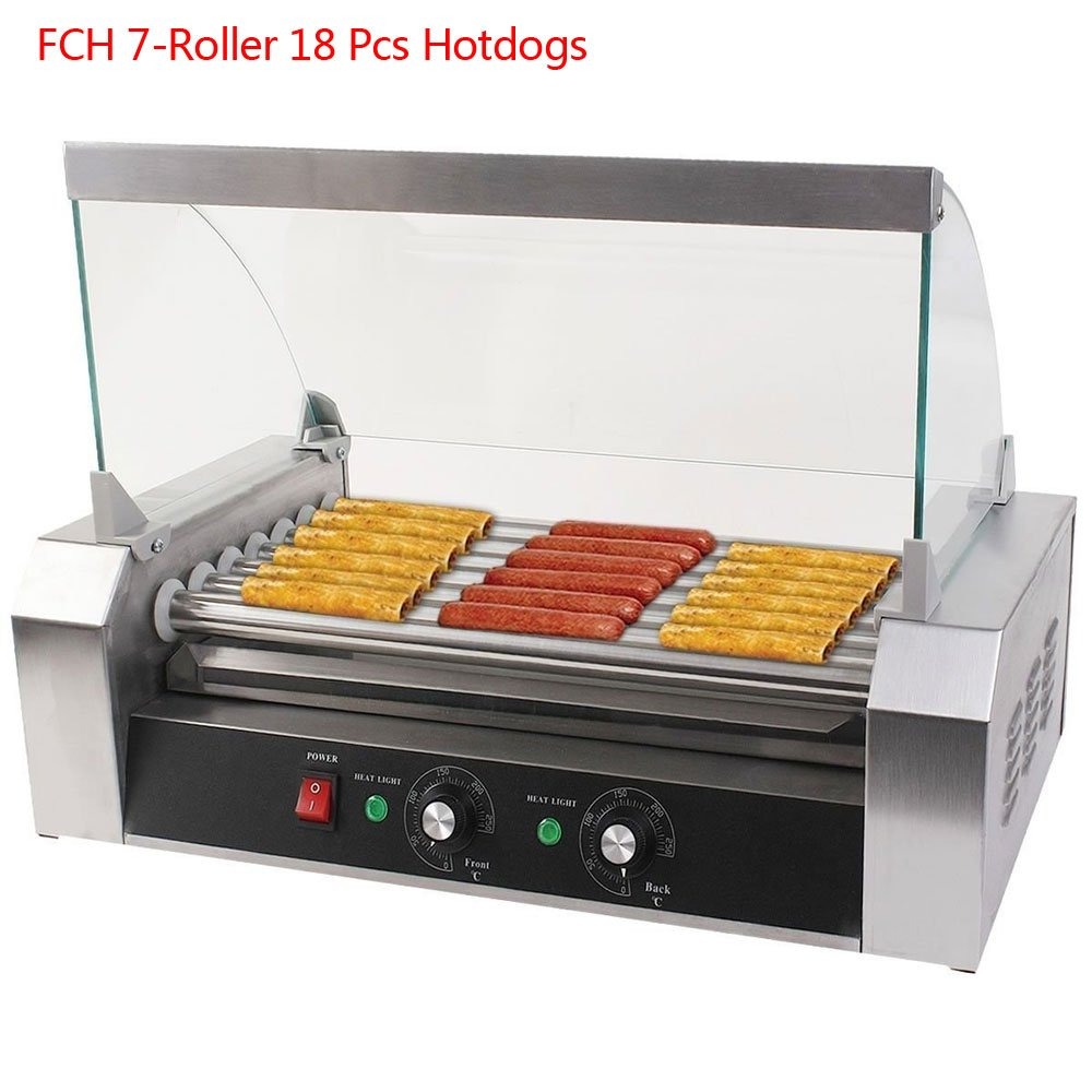 FCH 7 Roller Hot-dog Maker Grill Cooker Machine Stainless Steel Hot Dog Machine Commercial Cover Silver