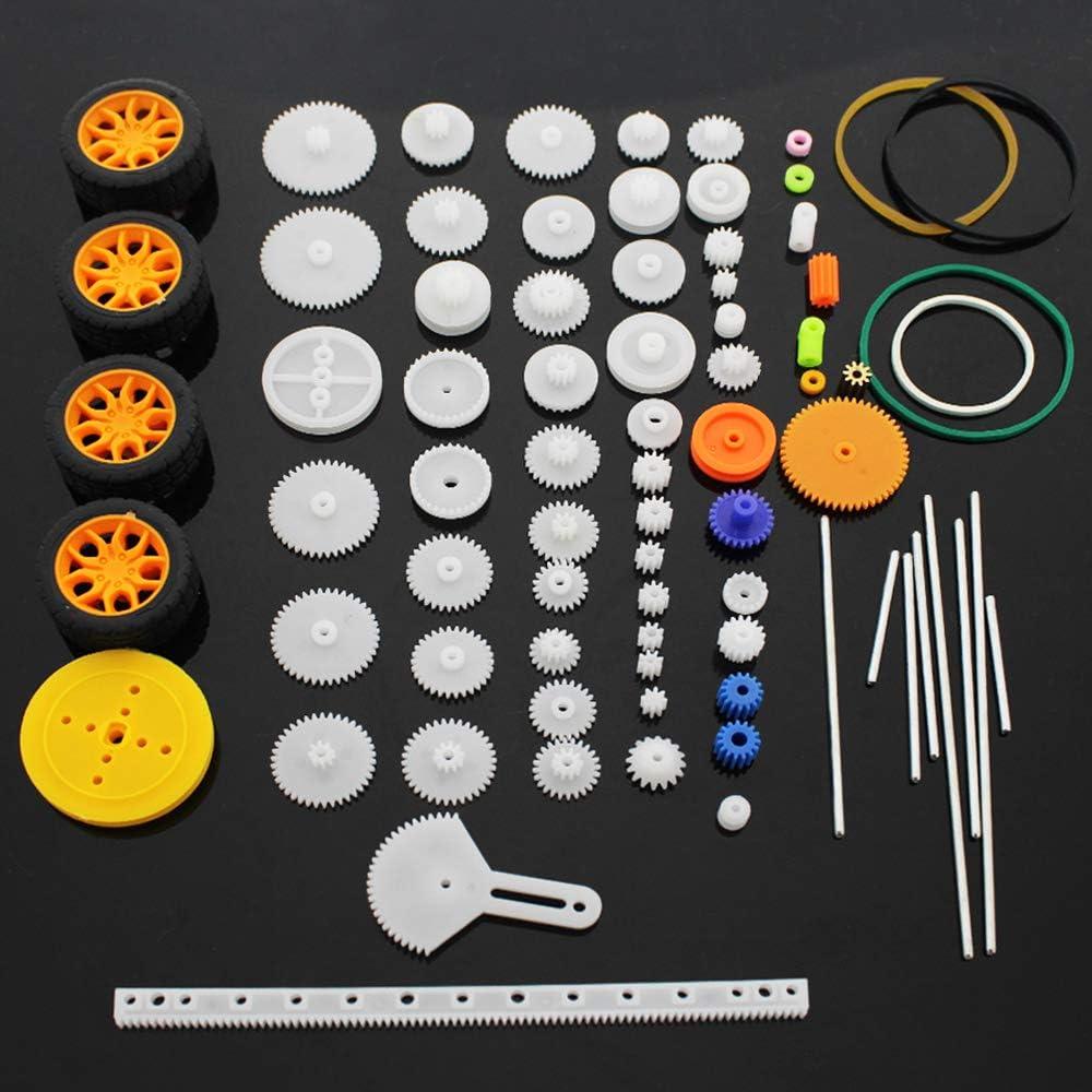 SPTwj Conjunto de Ruedas de Eje de Engranajes de plástico 78 Piezas Engranaje de Doble reducción Simple Gusano de Engranaje Robot Piezas de automóvil Kit